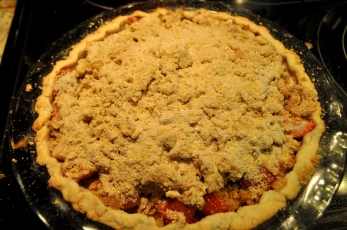 Press the crumb topping onto the pie halfway through the cooking time