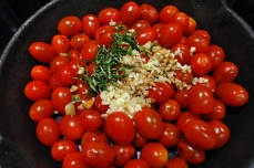 Tomatoes, garlic, and herbs - yum!
