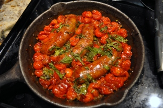 Roasted Cherry Tomatoes & Sausages