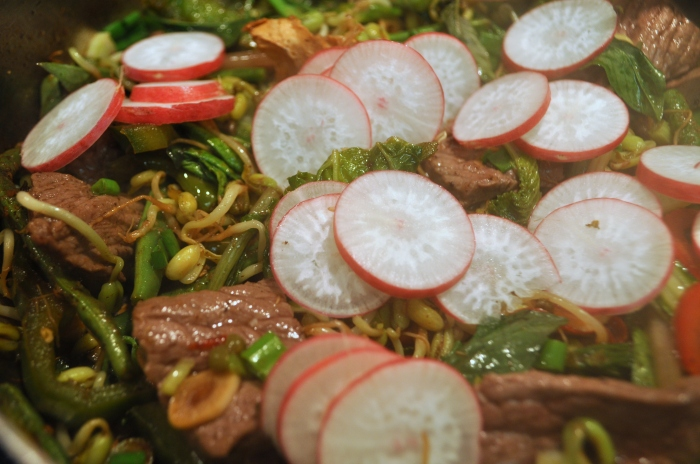 Crunchy Radishes add a pop of texture and color to this stir fry