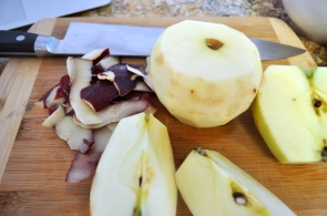 Apples - slice the top of the apple for easier peeling