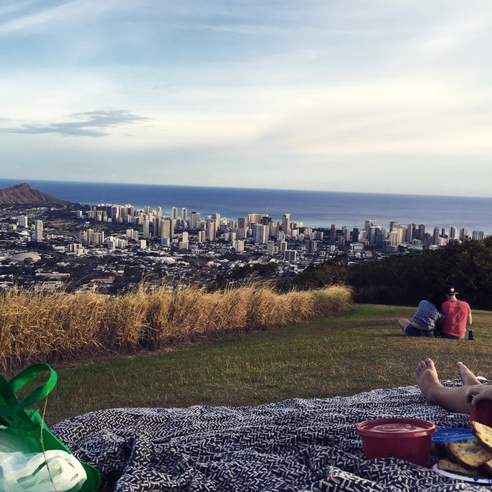 The view of Diamond Head and the city from our picnic blanket. You can almost see home!