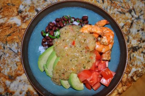 Burrito bowl with tomatillo salsa