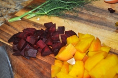 Red and yellow beets make this even prettier