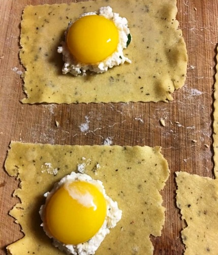 Egg yolk ravioli. To make these beauties, make a well in the ravioli filling and carefully place an egg yolk into the space. Cook for 90 seconds.