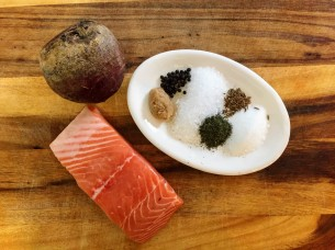 Beet Cured Gravlax - Ingredients