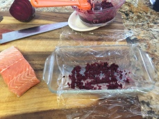Add some beets to the bottom of the dish