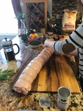 Tie the porchetta roughly every 1-2 inches